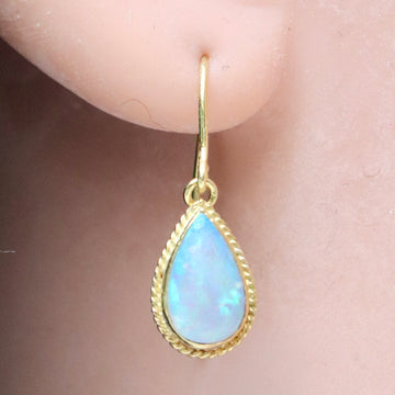 14k Teardrop Opal Earrings