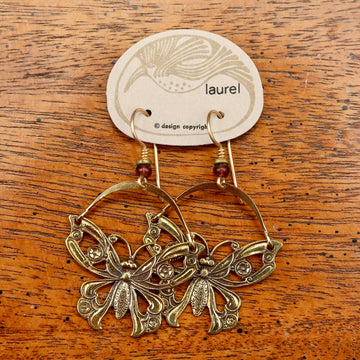 Vintage Laurel Burch Articulating Butterfly Gold-Plate Earrings