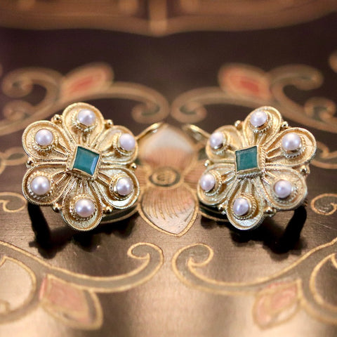 14k Elizabeth Gaskell Emerald and Pearl Earrings