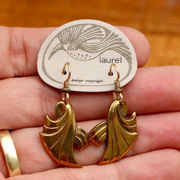 Vintage Laurel Burch Ribbon Gold-Plate Earrings