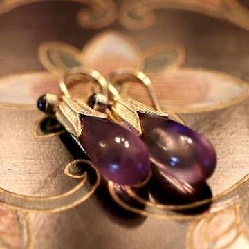 Jane Eyre 14k Gold, Amethyst and Garnet Earrings