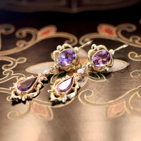 Lady Shalott Earrings: Amethysts, Pearl and 14k Gold