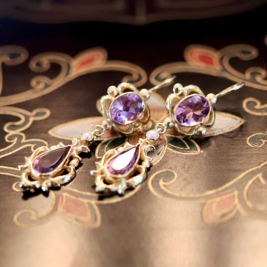 Lady Shalott 14k Gold, Amethyst and Pearl Earrings