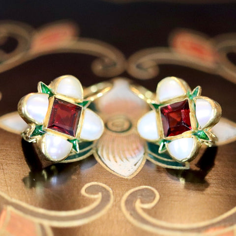 Ariel Earrings: Garnets, Pearls and 14k Gold