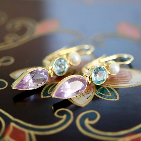 14k Ellen Terry Amethyst, Blue Topaz and Pearl Earrings
