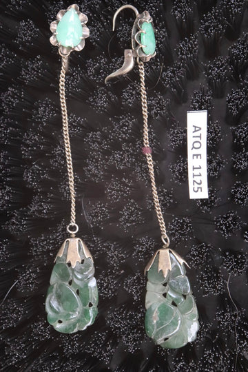 Antique Qing Dynasty Carved Jade Dangle Earrings