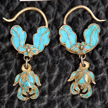 Antique Qing Dynasty Floral and Leaf Arrangement Earrings