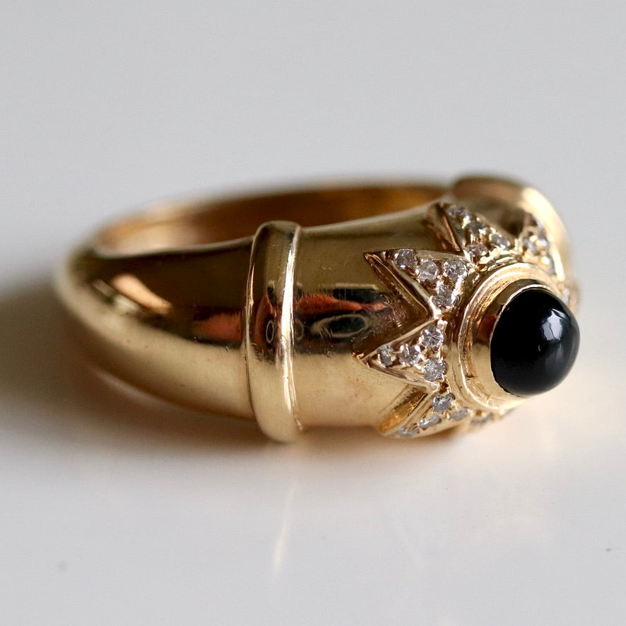 Star 14k Gold, Onyx and Diamond Ring