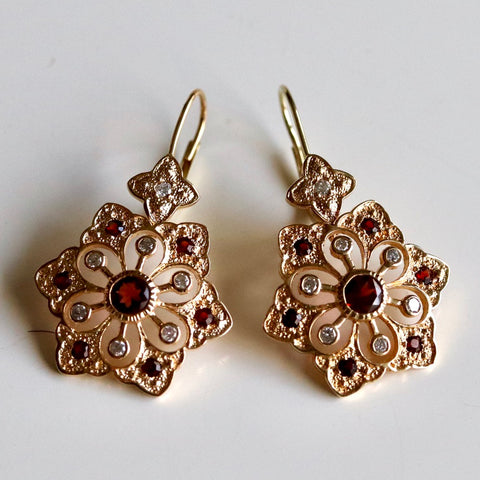 14k Garnet and Diamond Snowflake Earrings