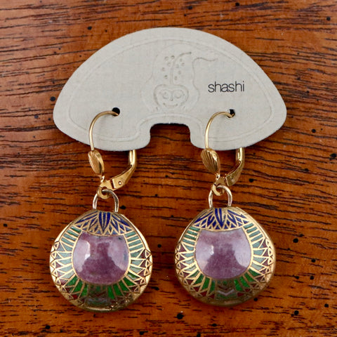 Vintage Shashi Purple Scarab Earrings