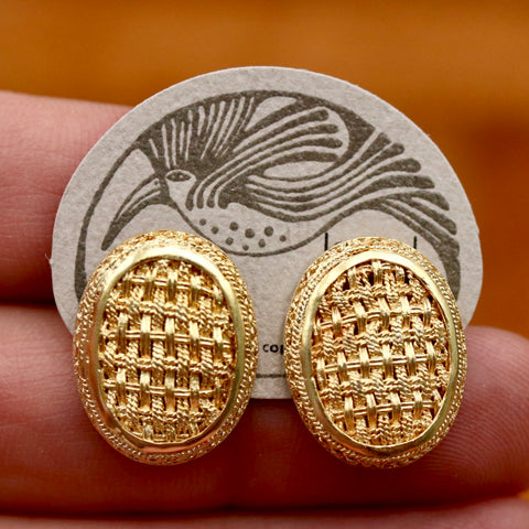 Vintage Laurel Burch Basket Weave Oval Gold-Plate Earrings