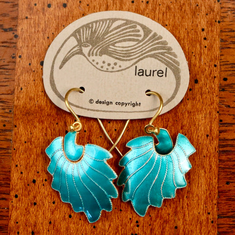 Vintage Laurel Inc Feather Sky Blue Gold-Vermeil Dangles