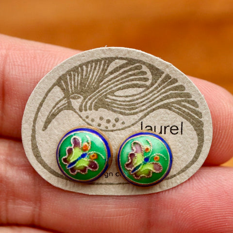 Vintage Laurel Burch Butterfly Green Gold-Vermeil Button Studs