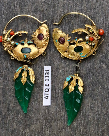 Antique Qing Dynasty Jade Leaf Pomegranate Tree Earrings