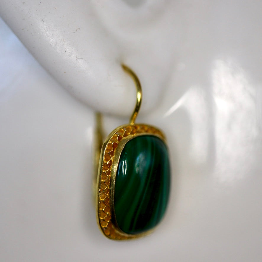Manchester 14k Gold and Malachite Earrings
