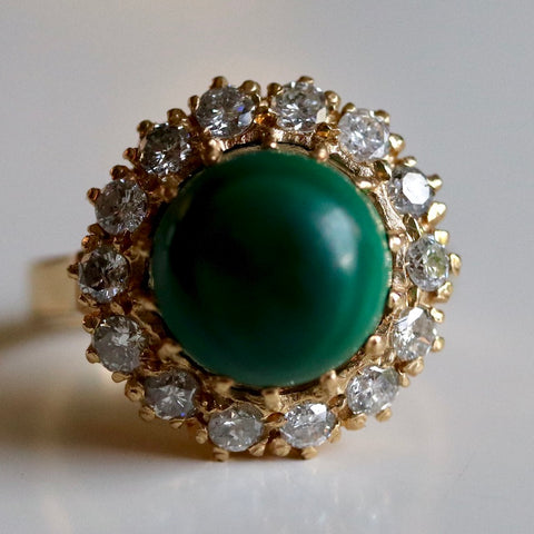 Catherine Parr Ring: Cabochon Malachite, Diamonds and 14k Gold Setting