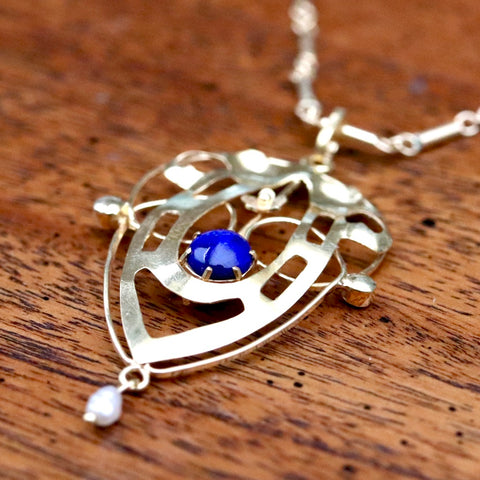 Lyrical Shield Lapis Necklace