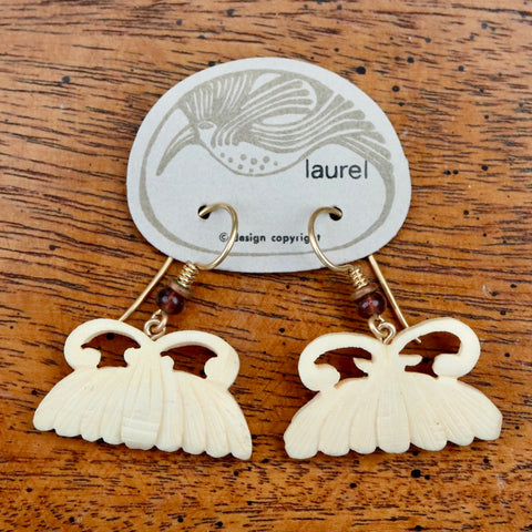 Vintage Laurel Burch Moth Bone Earrings