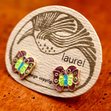 Vintage Laurel Burch Butterfly Gold-Vermeil Studs