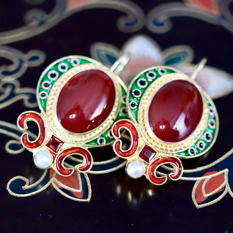 14k Medici Carnelian, Garnet and Pearl Earrings
