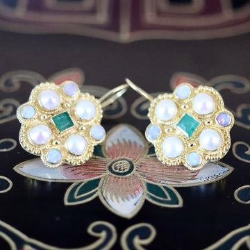 Lady Brighten 14k Gold, Emerals, Pearl and Opal Earrings