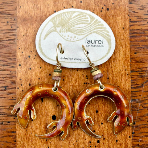 Vintage Laurel Burch Salamander Gold-Vermeil Earrings