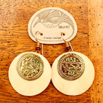 Vintage Laurel Burch Runic Bone Gold-Plate Dangles