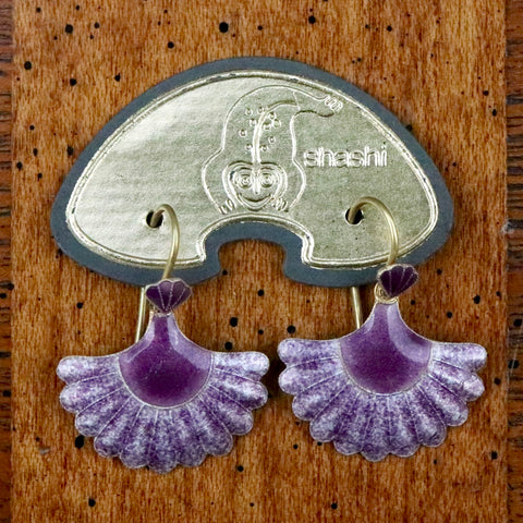 Vintage Shashi Purple Scallop Earrings