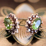Kenilworth Earrings: Peridot, Diamonds & 14k Gold Studs