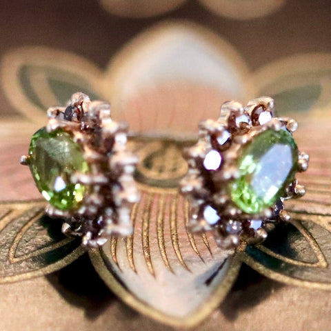 Kenilworth Earrings: Peridot, Diamonds and 14k Gold Studs