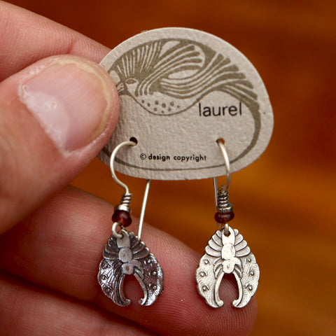 Vintage Laurel Burch Chrysalis Silver-Plate Earrings