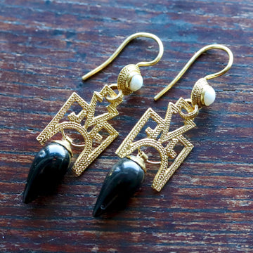 Russian Deco Onyx Earrings