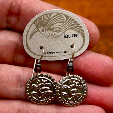 Vintage Laurel Burch Parrot Silver-Plate Earrings