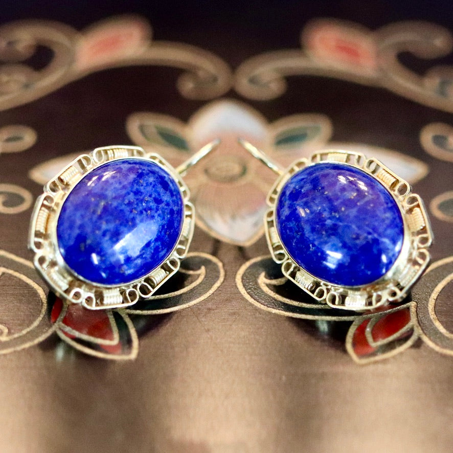 St. Albans 14k Gold and Lapis Earrings