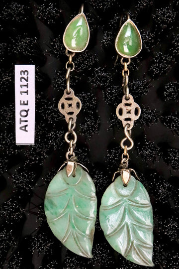 Antique Qing Dynasty Jade Leaf on Pear Double Dangle Earrings