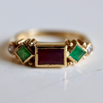 Pollaiuolo 14k Gold, Garnet, Emerald and Diamond Ring