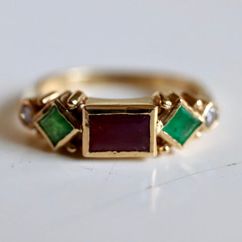 Gold Garnet & Emerald Diamond Renaissance Ring