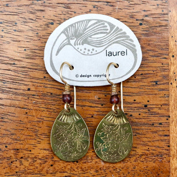 Vintage Laurel Burch Spring Flowers Gold-Plate Earrings