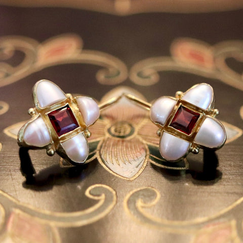 Mary Queen Of Scots Earrings: Garnet, Pearls and 14k Gold