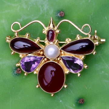 May Meadows Amethyst, Garnet and Pearl Pin