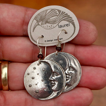 Vintage Laurel Burch Small Moonface Silver-Plate Earrings