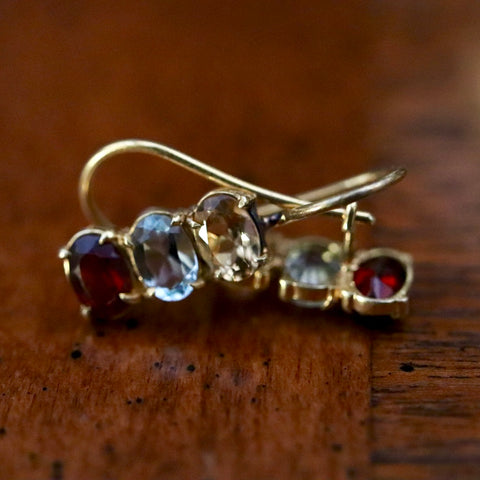 Diana Daring Citrine, Topaz and Garnet Earrings