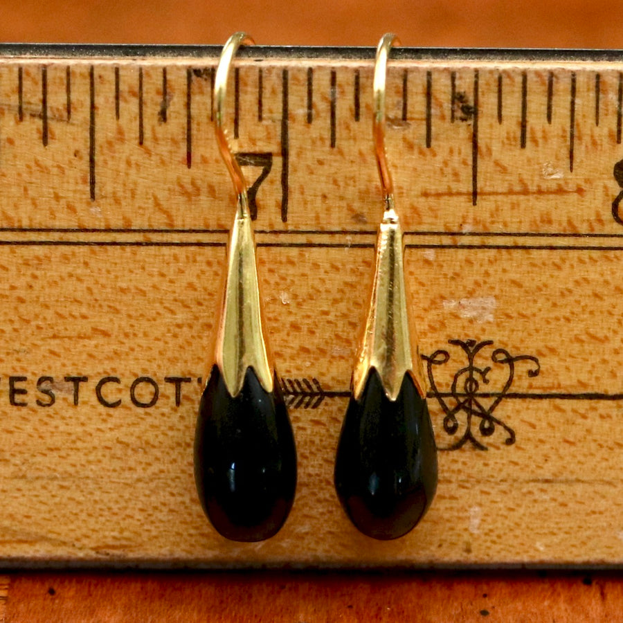 Cornflower Bud 14k Gold and Onyx Drop Earrings