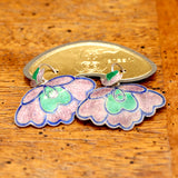 Vintage Shashi Lilac & Green Orchid Earrings