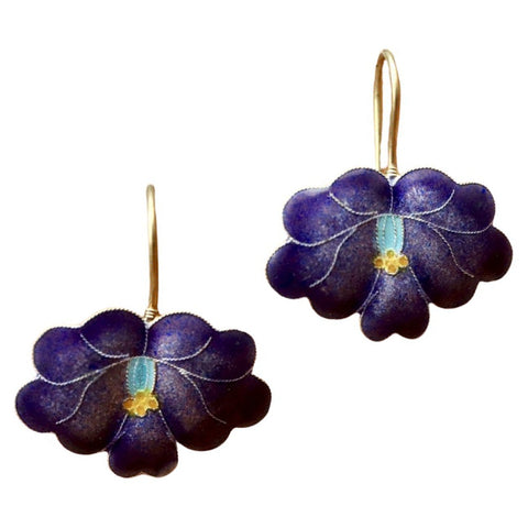 Vintage Shashi Royal Blue Flowering Orchid Earrings