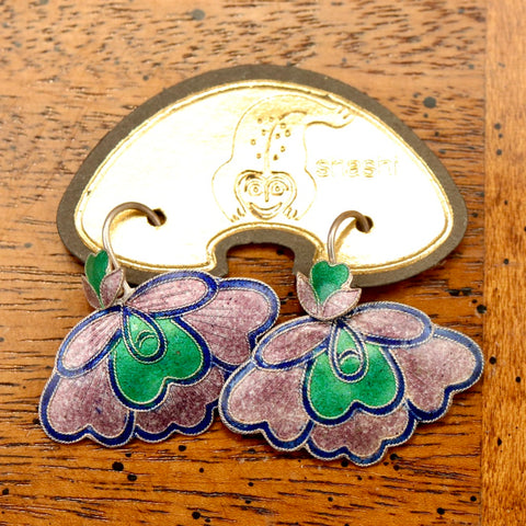 Vintage Shashi Lilac and Green Orchid Earrings