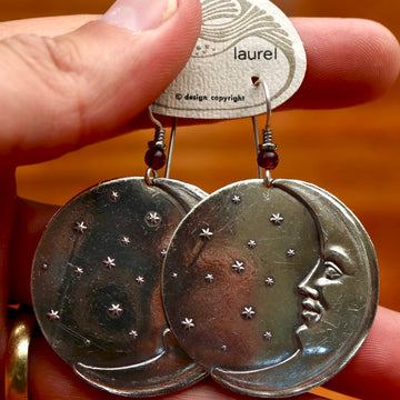 Vintage Laurel Burch Large Moonface Silver-Plate Earrings