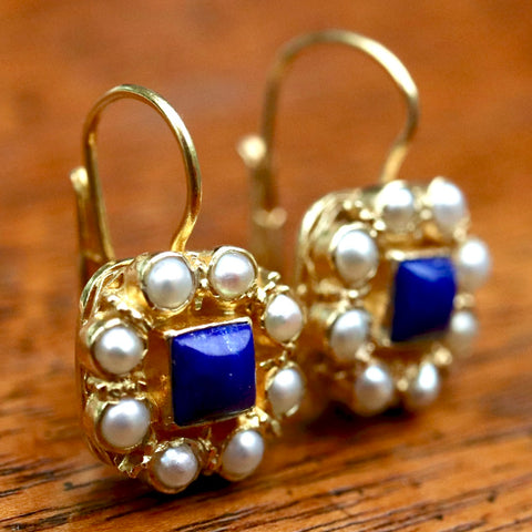 14k Mediterranean Lapis and Pearl Earrings