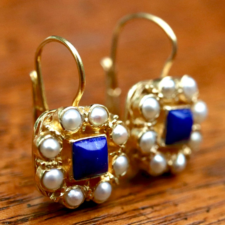 Mediterranean 14k Gold, Lapis and Pearl Earrings