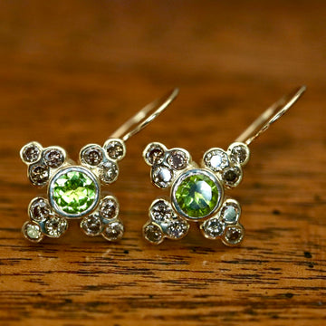 Madame Bovary 14k Gold, Peridot and Diamond Earrings